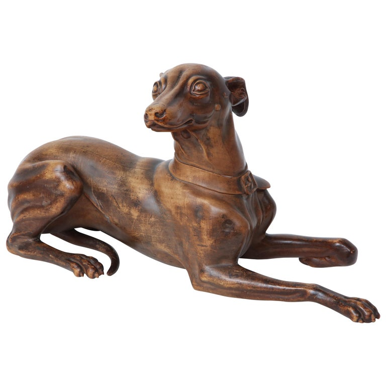 Finely Carved Recumbent Whippet, circa 1900s For Sale