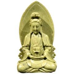 Finely Carved Soapstone Buddhist Stele of Bodhisattva Avalokiteshvara 'Guanyin'