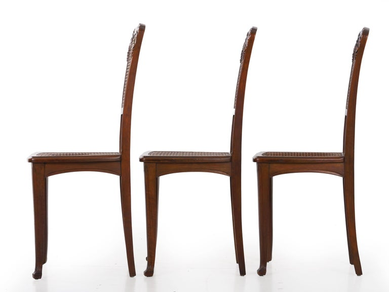 Finely Carved Walnut Set of Six French Art Nouveau Dining Chairs For Sale 9