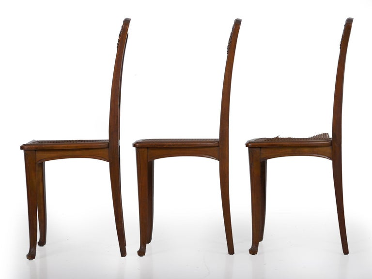 20th Century Finely Carved Walnut Set of Six French Art Nouveau Dining Chairs For Sale