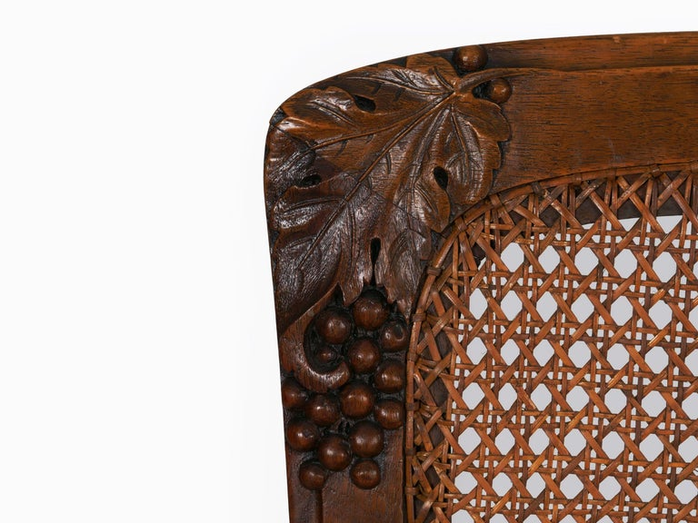Finely Carved Walnut Set of Six French Art Nouveau Dining Chairs For Sale 3