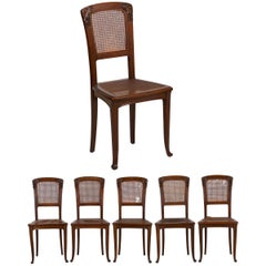 Finely Carved Walnut Set of Six French Art Nouveau Dining Chairs