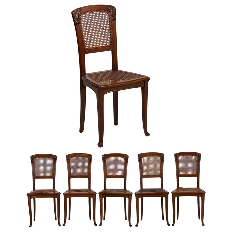 Finely Carved Walnut Set of Six French Art Nouveau Dining Chairs For Sale