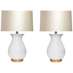 Finely Carved White Porcelain Lamps