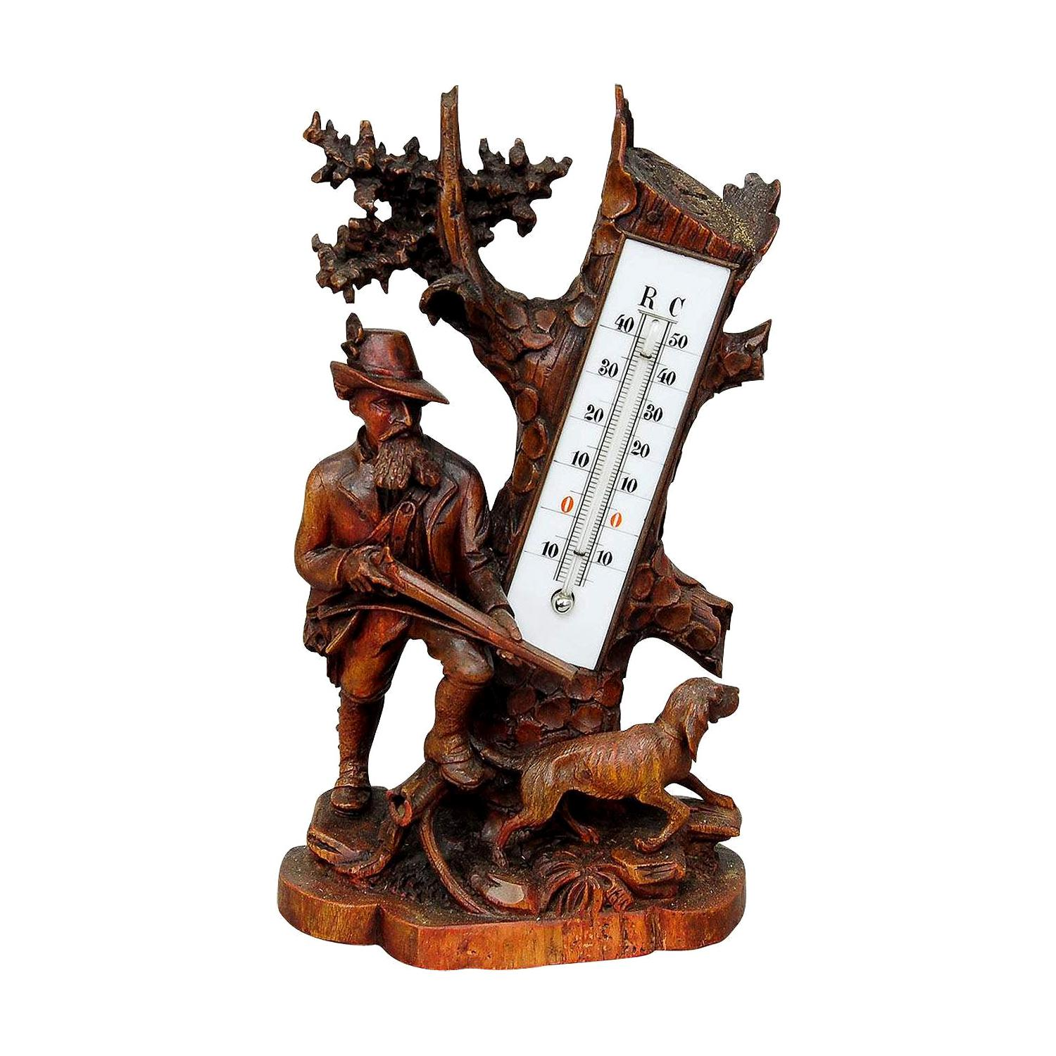 Finely Carved Wood Thermometer Stand Hunter and Staghound, 1910
