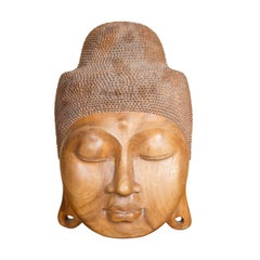 Finely Carved Wooden Buddha Face