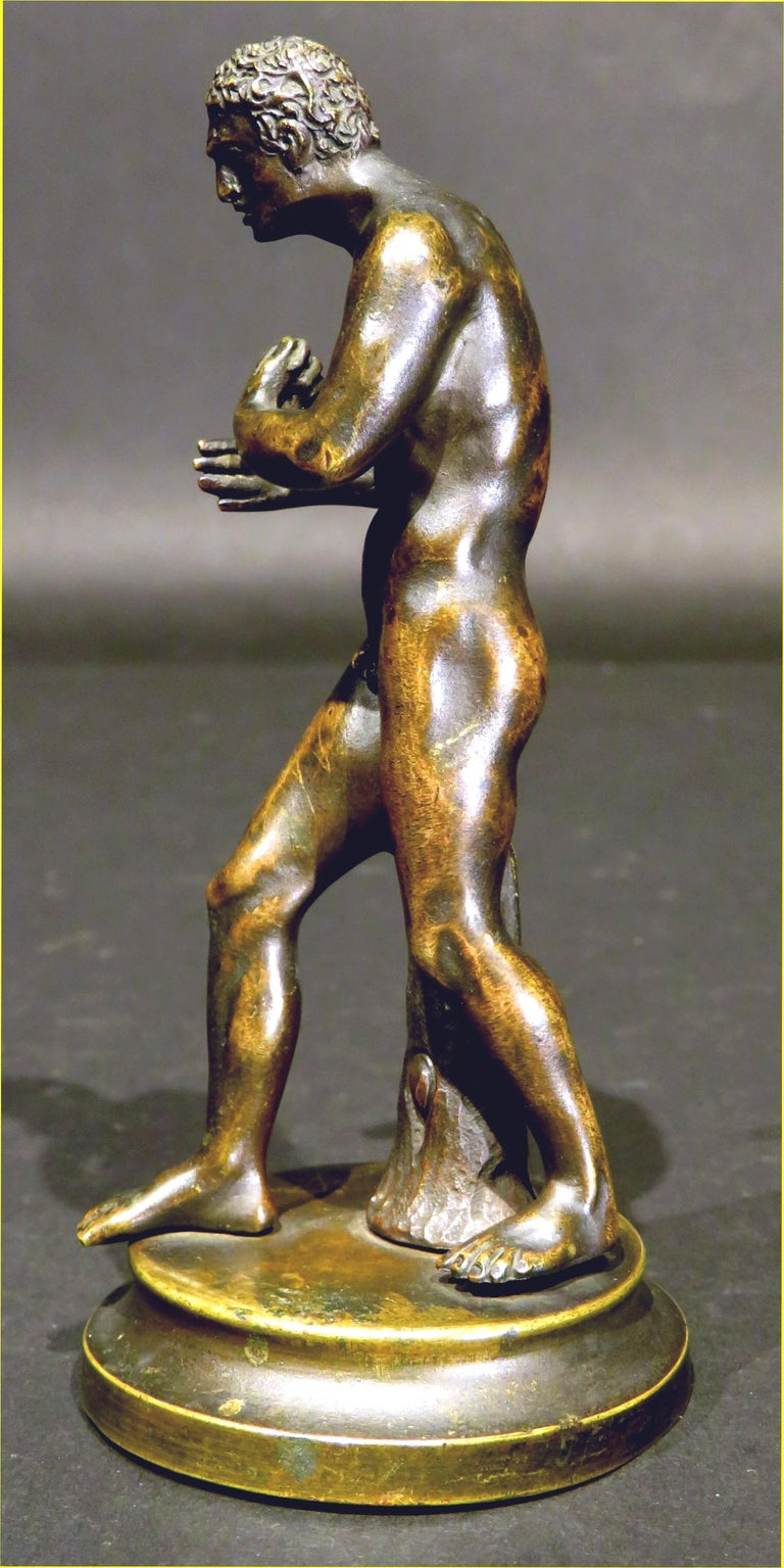 Finely Cast Pair of 19th Century Grand Tour Miniature Bronzes of The Pugilists  8