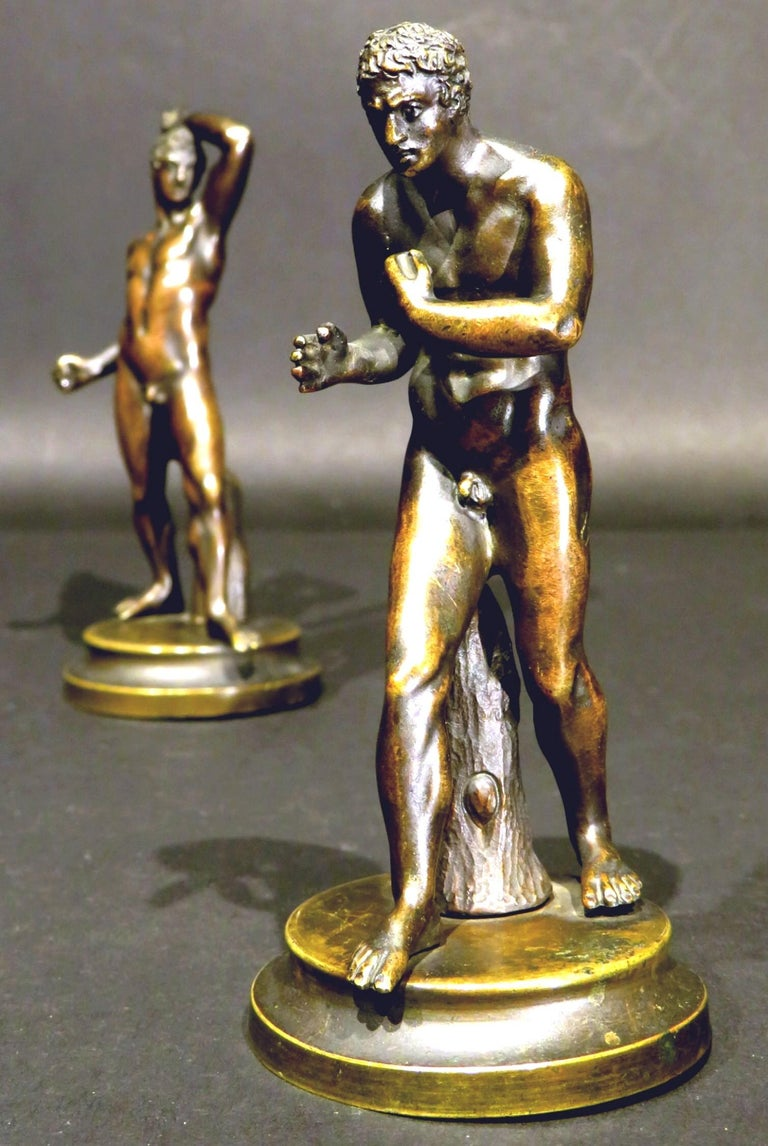 Finely Cast Pair of 19th Century Grand Tour Miniature Bronzes of The Pugilists  5