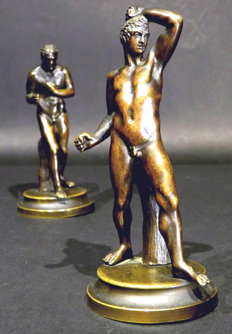 Italian Finely Cast Pair of 19th Century Grand Tour Miniature Bronzes of The Pugilists