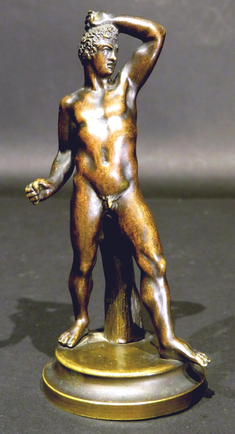 Finely Cast Pair of 19th Century Grand Tour Miniature Bronzes of The Pugilists  1
