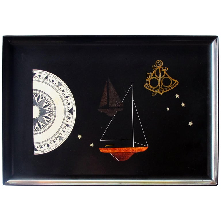 Finely Crafted and Hand-Inlaid American Midcentury Black Resin Tray by Couroc For Sale