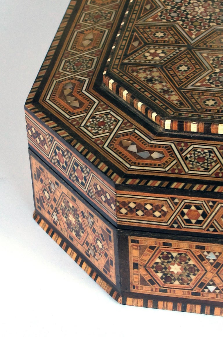 Finely Crafted Middle Eastern Micro-Mosaic Marquetry Inlaid Octagonal Lidded Box For Sale 1