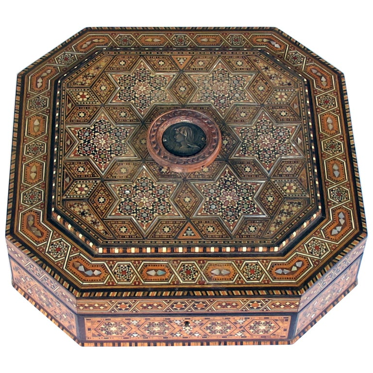 Finely Crafted Middle Eastern Micro-Mosaic Marquetry Inlaid Octagonal Lidded Box For Sale