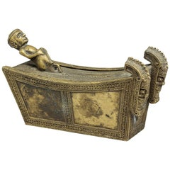 Finely Crafted Small Batak Bronze Box with Figure and Singas, Indonesia