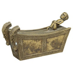 Finely Crafted Small Batak Bronze Box with Full Figure and Singas, Indonesia