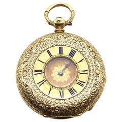 Finely Engraved 18 Karat Yellow Gold Half Hunter Pocket Watch