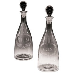 Finely Engraved Pair of Labelled Gin And Rum Tapered Georgian Decanters