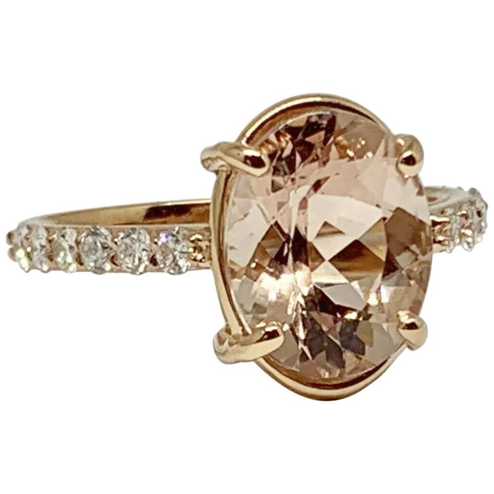 Diamond Morganite Ring 6.76 TCW 14k Gold Certified