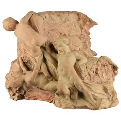 Finely Modeled Terracotta Capital with Cherubs, Late 19th Century