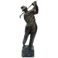 Finely-Modeled Vintage Patinated Bronze Figure of a Golfer