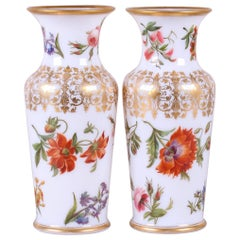 Finely Painted Pair of French Opaline Glass Vases