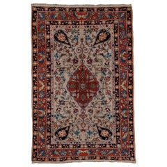 Finely Woven Antique Farahan Sarouk Rug, Ivory Field, Red Borders, circa 1900s