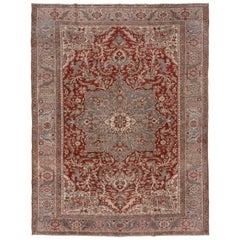 Finely Woven Antique Persian Heriz Rug, Red Outer Field Large, Unique Medallion