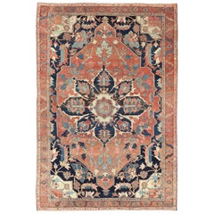 Finely Woven Antique Persian Serapi Rug with Bold Geometric Design