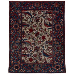 Finely Woven Antique Persian Sultanabad Rug, Ivory Field, Royal Blue Borders