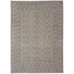 Finely Woven Khotan Rug with All-Over Geometric Pattern in Soft Yellow & Gray