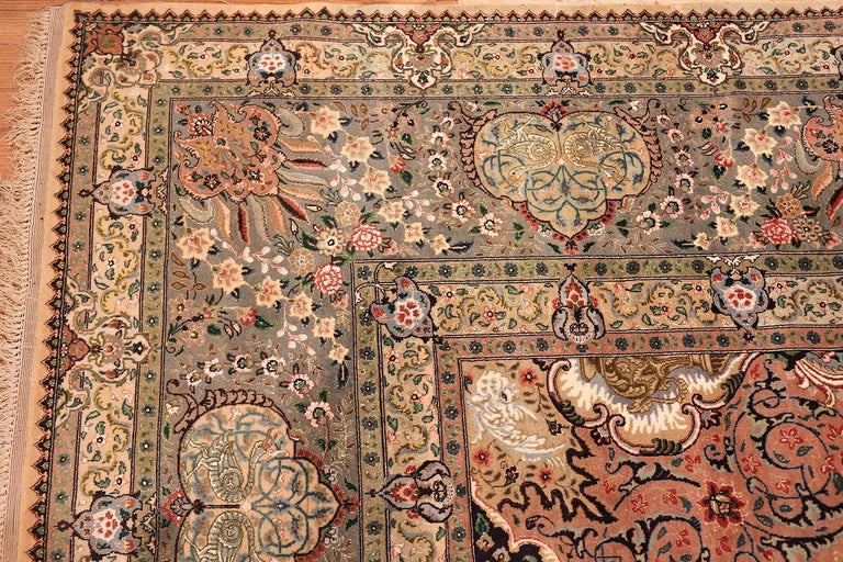 Finely Woven Silk & Wool Vintage Persian Tabriz Rug. Size: 11' 4