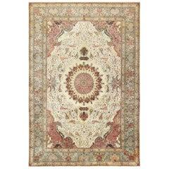 "Finely Woven Silk & Wool Vintage Persian Tabriz Rug. Size: 11' 4"" x 16' 10"""