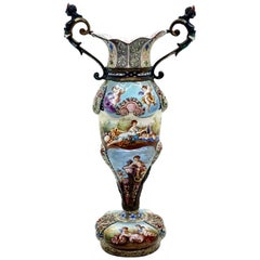 Finest 19th Century Viennese Enamel Amphora with Cupids and Antique Scenes