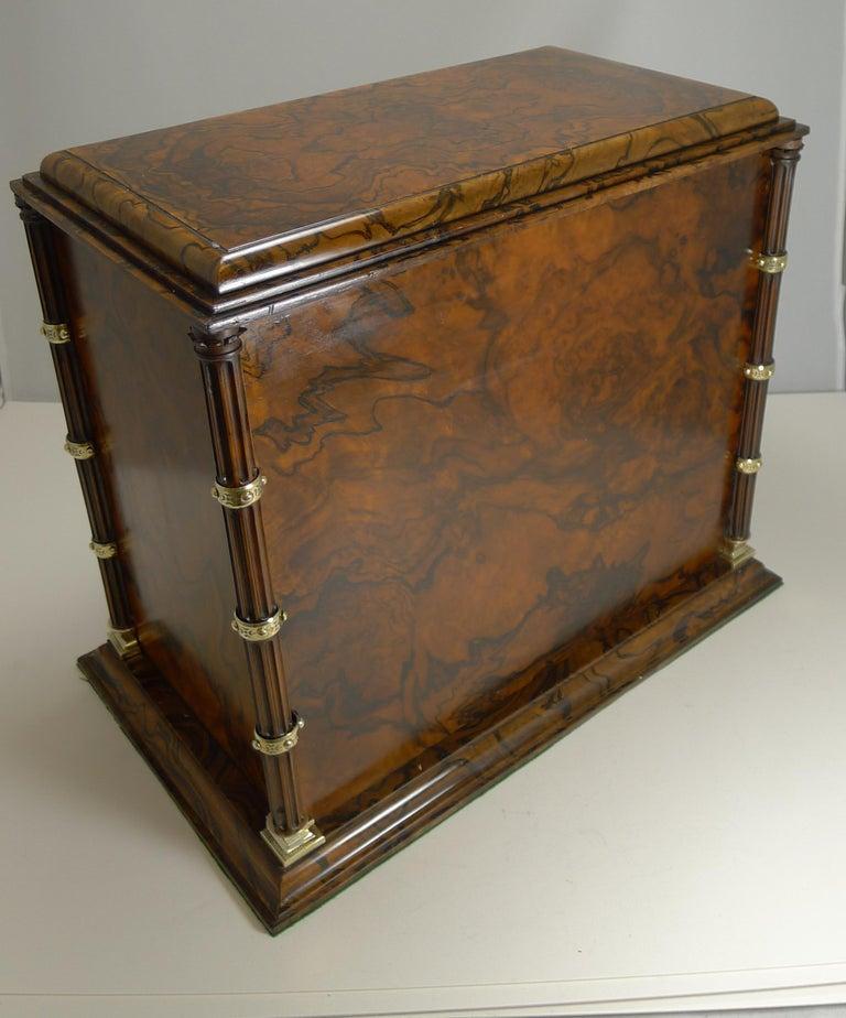 Finest Antique English Burr Walnut And Brass Cigar Cabinet