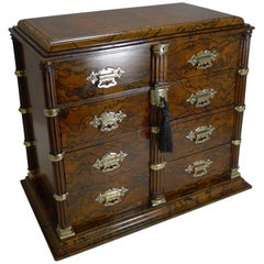 Finest Antique English Burr Walnut and Brass Cigar Cabinet / Humidor, circa 1880
