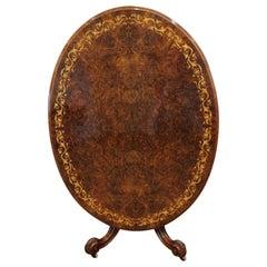 Finest English Burl Walnut Inlaid Dining Table