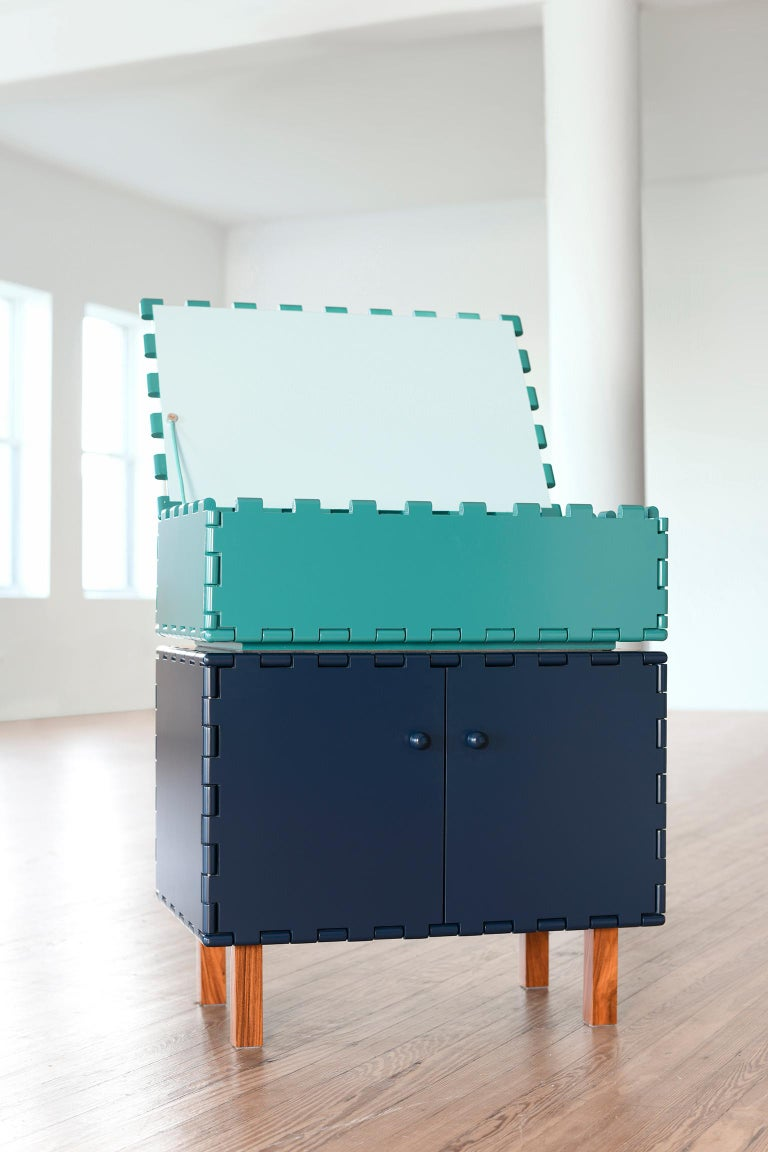 Hand-Crafted Finest Handcrafted Interlocking Lacquered Wood Small Vanity, Cabinet E For Sale