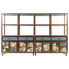 Finest Handcrafted Interlocking Wood and Fabric Panels Sideboard