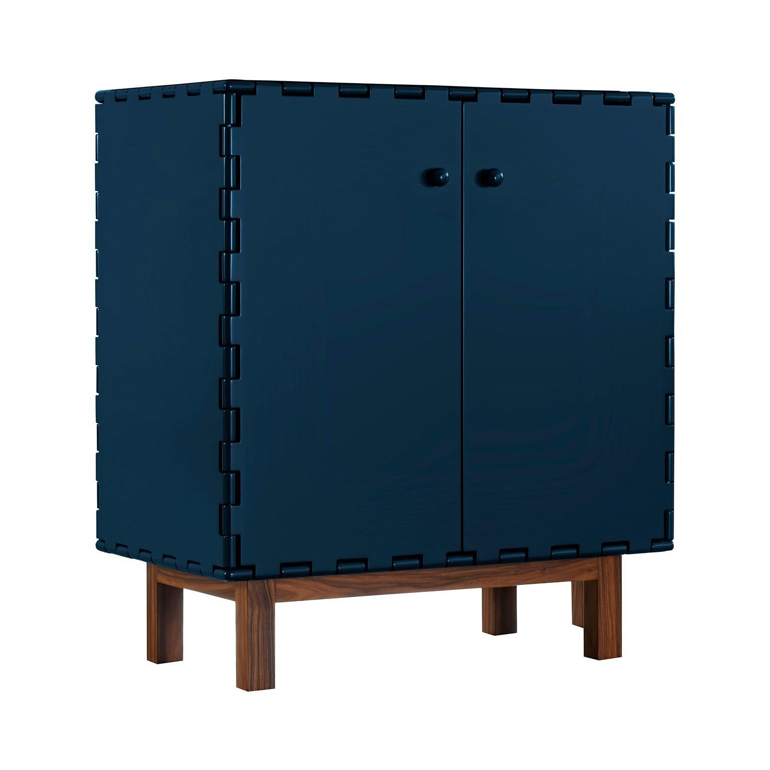 Finest Handcrafted Lacquered Interlocking Wood Panels Cabinet, Cabinet C