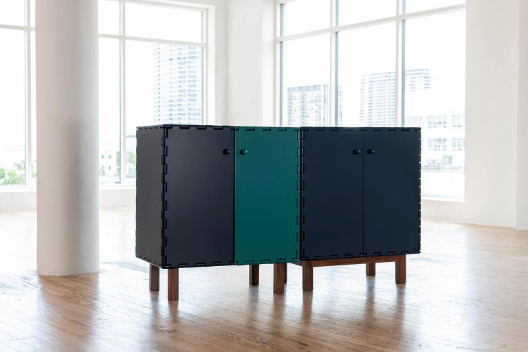 Contemporary Finest Handcrafted Lacquered Interlocking Wood Panels Display Cabinet, Cabinet A For Sale