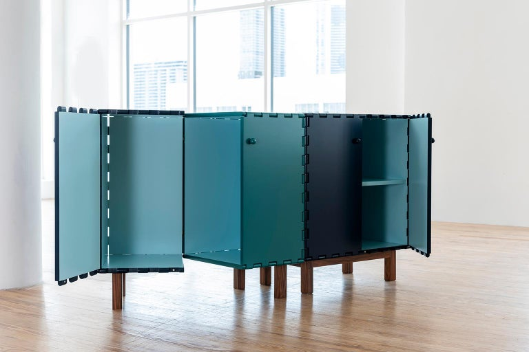 Hand-Crafted Finest Handcrafted Lacquered Interlocking Wood Panels Display Cabinet, Cabinet A For Sale