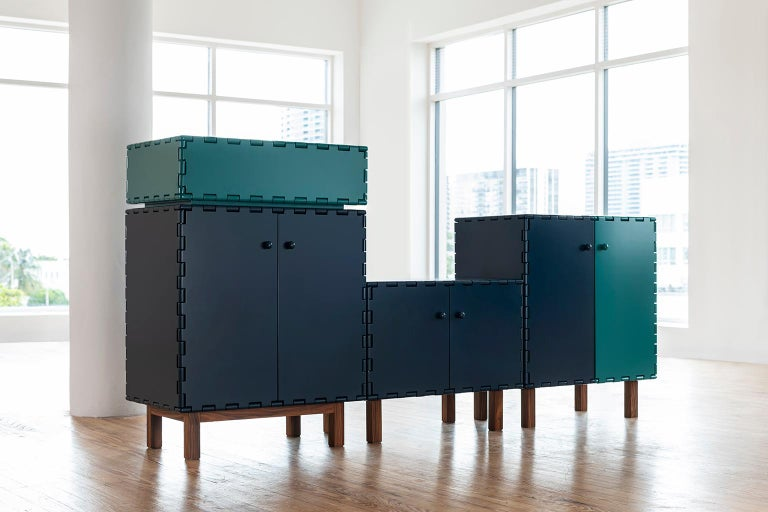 Finest Handcrafted Lacquered Interlocking Wood Panels Nightstand, Cabinet D For Sale 3