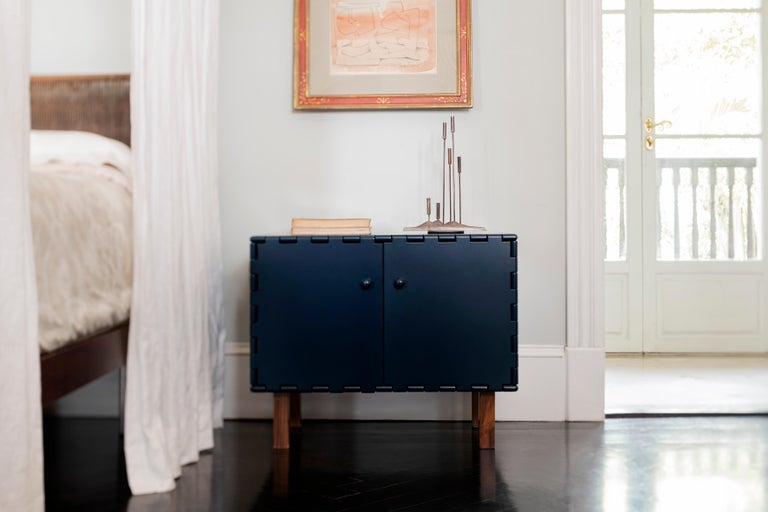 Contemporary Finest Handcrafted Lacquered Interlocking Wood Panels Nightstand, Cabinet D For Sale