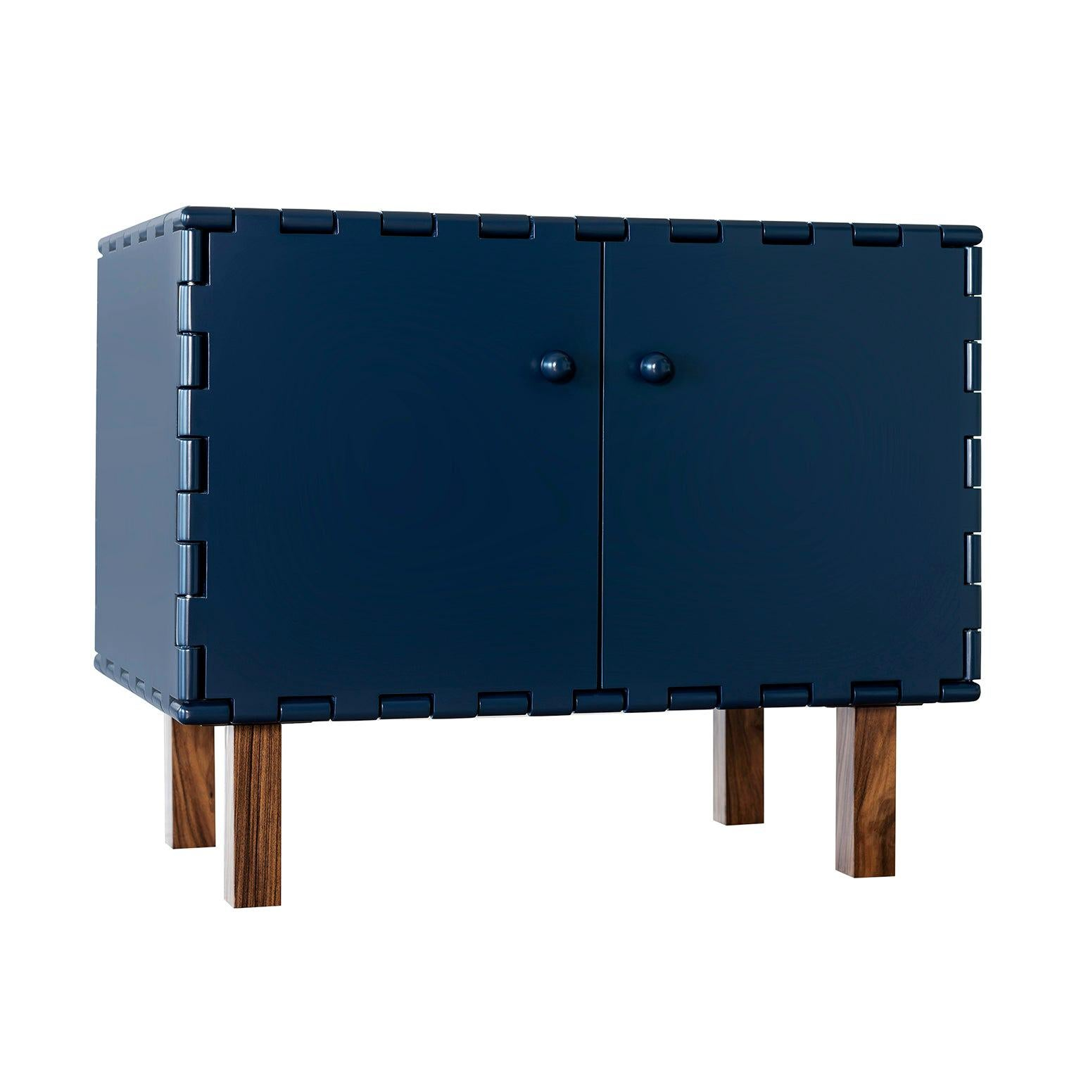 Finest Handcrafted Lacquered Interlocking Wood Panels Nightstand, Cabinet D