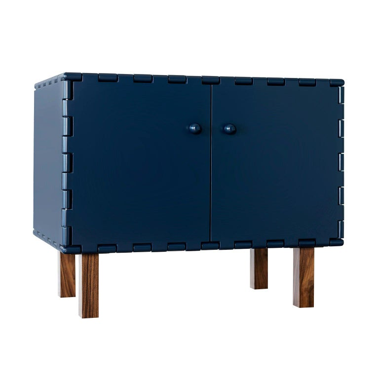 Finest Handcrafted Lacquered Interlocking Wood Panels Nightstand, Cabinet D For Sale