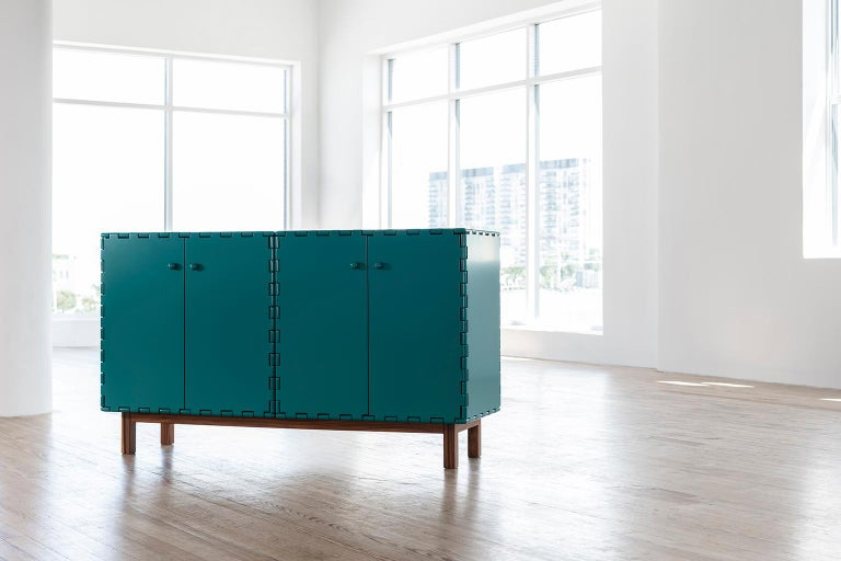 Hand-Crafted Finest Handcrafted Lacquered Interlocking Wood Panels Sideboard, Cabinet B For Sale