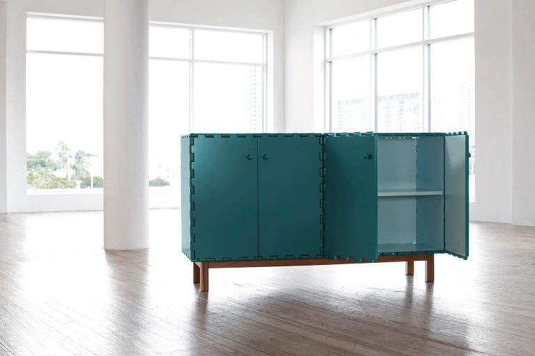 Modern Finest Handcrafted Lacquered Interlocking Wood Panels Sideboard, Cabinet B For Sale