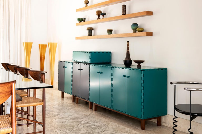 Finest Handcrafted Lacquered Interlocking Wood Panels Sideboard, Cabinet B For Sale 3