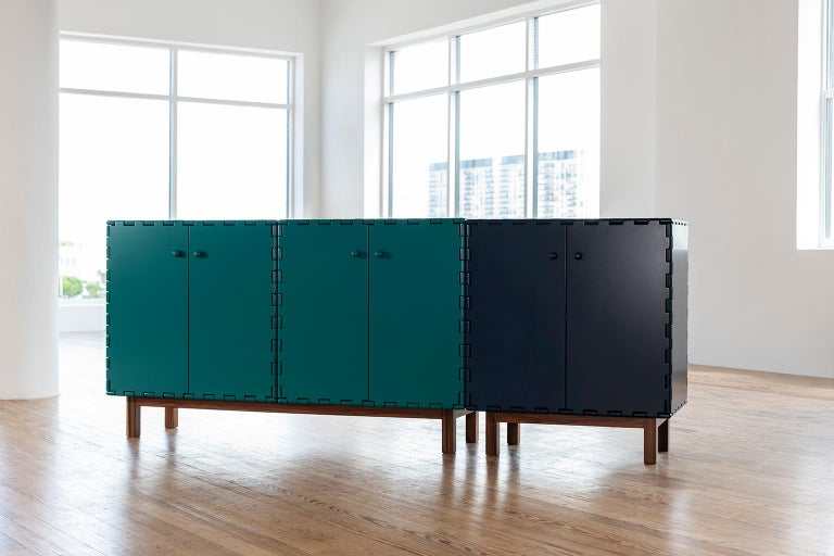 Finest Handcrafted Lacquered Interlocking Wood Panels Sideboard, Cabinet B For Sale 2