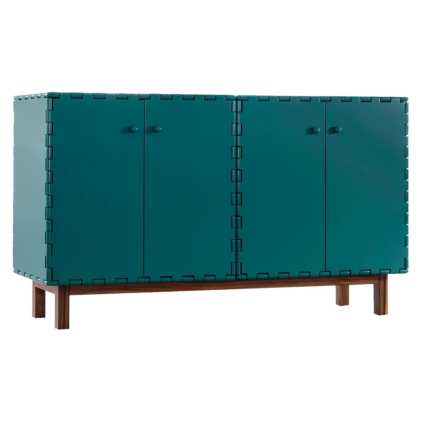 Finest Handcrafted Lacquered Interlocking Wood Panels Sideboard, Cabinet B